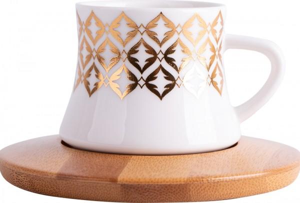 Hayal 6'lı Türk Kahve Seti Bambu Porselen | Beyaz Altın | By-alz-p180196-3