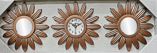 Dematex Dekoratif Aynalı 3 Parça Duvar Saati