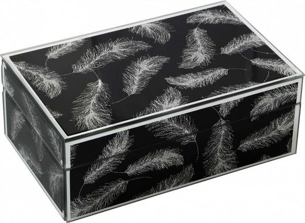 Dekonaz Dekoratif Modern Takı Kutusu Aynalı Kristal Tozlu Tüy Motifli   Siyah