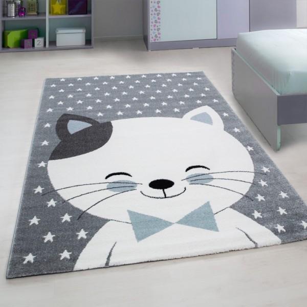 Ayyıldız Kids Sevimli Kedicik Çocuk Halısı | 100% PP Frise 11mm 2500 gr | Mavi | 550-Blue