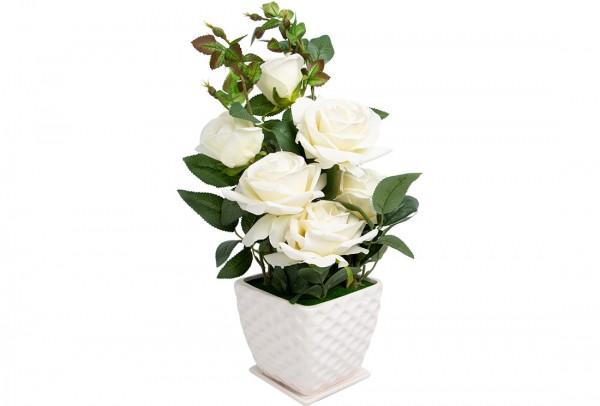 Dekonaz Dekoratif Çiçek Seramik Saksılı | Beyaz | Sas1187-w