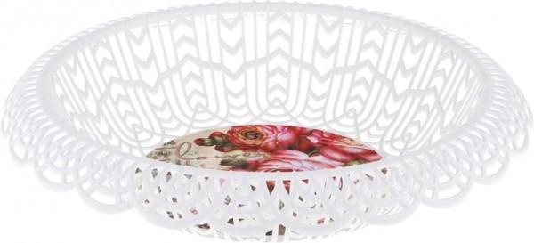 Dekonaz Ekmek Sepeti Çiçek Desenli Beyaz Yuvarlak Tasarım