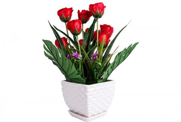 Dekonaz Dekoratif Çiçek Seramik Saksılı   Kırmızı   Sas-0007