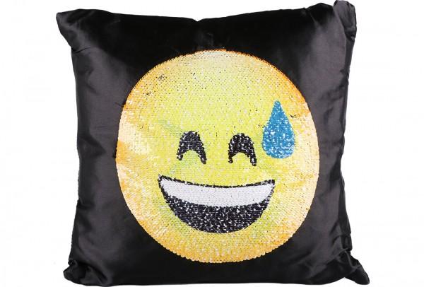 Dekonaz Dekoratif Pullu Yastık 40x40cm | Gözlüklü Ağlayan Emoji | MTL-0017