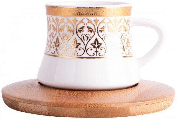 Hayal 6'lı Türk Kahve Seti Bambu Porselen | Beyaz Altın | By-alz-p180196-2