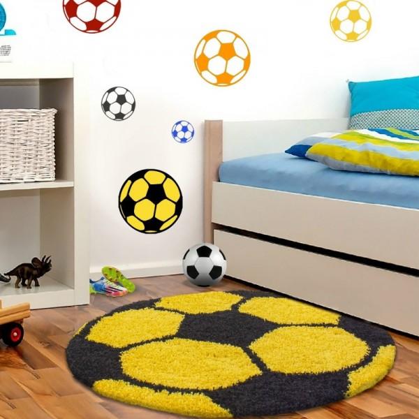 Ayyıldız Fun Futbol Topu Desenli Halı   Sarı & Beyaz   6001-Yellow