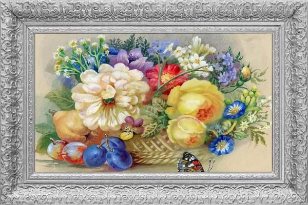 Çiçek Çerçeve Baskılı MDF Tablo