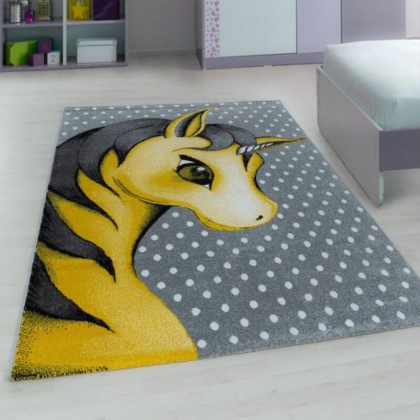 Ayyıldız Kids Sevimli Unicorn Çocuk Halısı | 100% PP Frise 11mm 2500 gr | Sarı | 590-Yellow