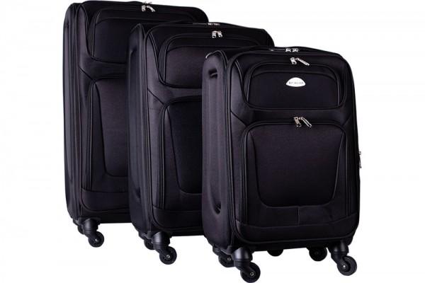 Bavary | 3'lü Bavul Seti | Tekerlekli | Siyah | Şifreli | G1960-BLACK