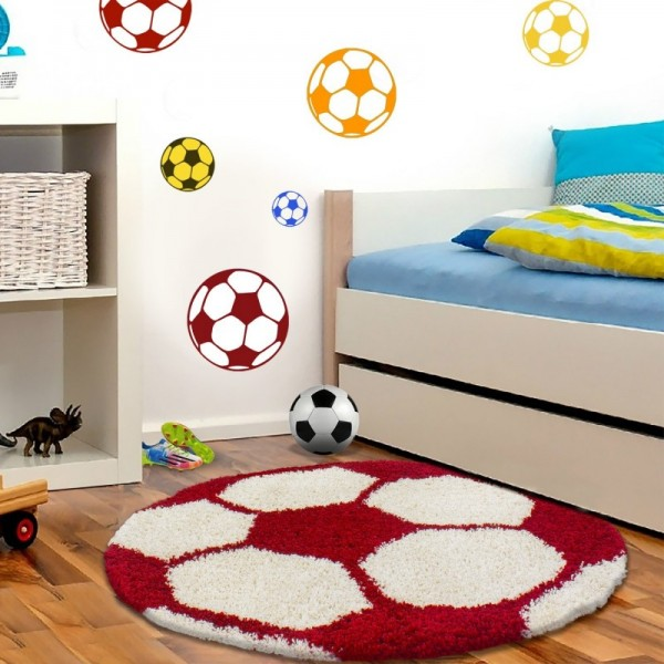 Ayyıldız Fun Futbol Topu Desenli Halı   Kırmızı & Beyaz   6001-Red