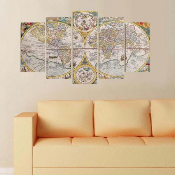 5 Parça Tablo - Eski Dünya Haritası