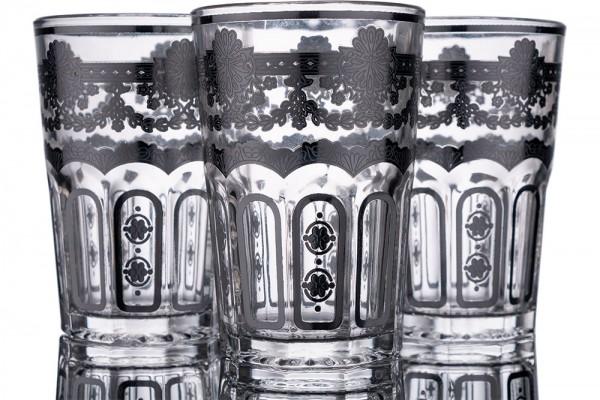 Bavary | Desenli Bardak | 12 Adet | Gümüş | By-2307-4