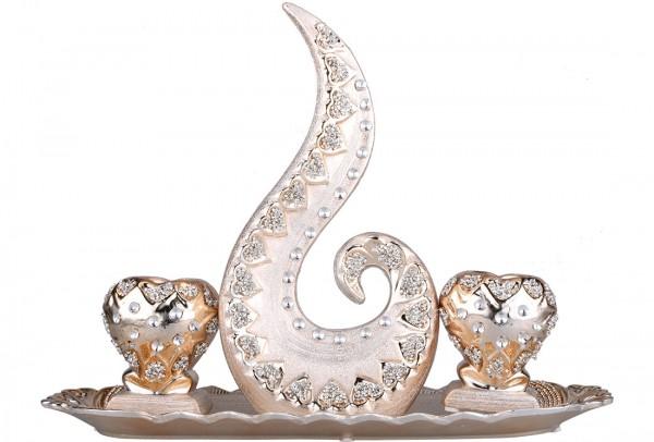 Almina 4 Parça Porselen Dekoratif Mumluk   Altın   Al-4229-c