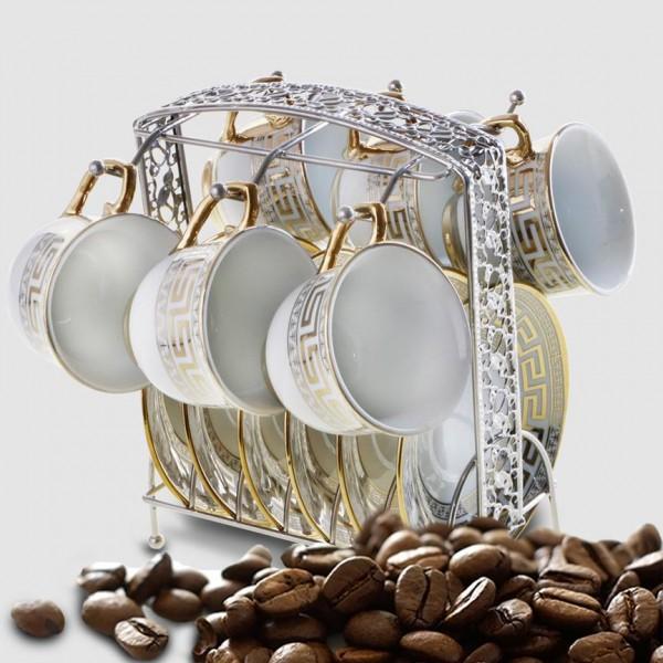 Bavary 6'lı Büyük Boy Kahve Fincan Seti Metal Stand | Gümüş | Ht694-g