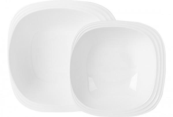 Almina 2 Parça Kase Seti Oval Köşeli | Beyaz | AL-7054
