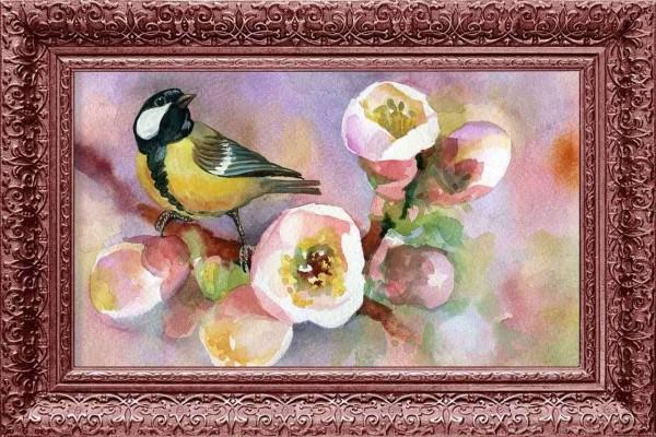 Çiçek ve Kuş Çerçeve Baskılı MDF Tablo