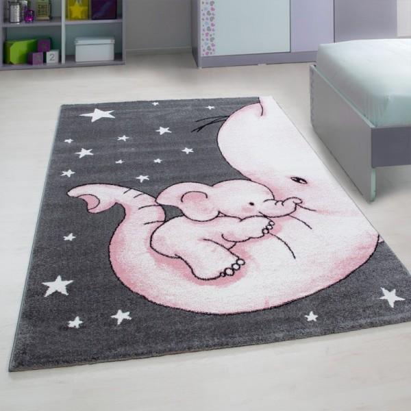 Ayyıldız Kids Yavru Fil Çocuk Halısı | 100% PP Frise 11mm 2500 gr | Pembe | 560-Pink