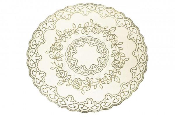 Yuvarlak Çiçek Desenli 38 cm Keçe Masa Örtüsü