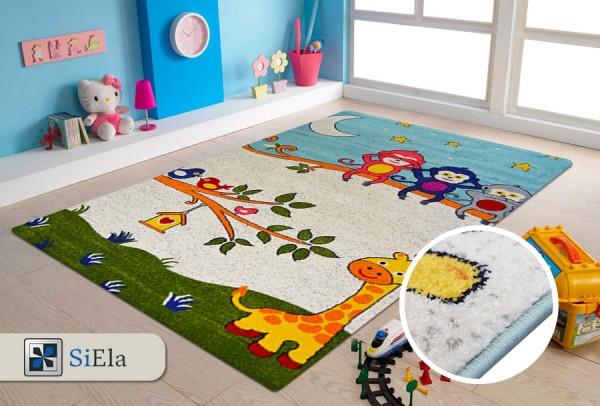 Siela Kids Collection Neşeli Maymunlar Çocuk Halısı | Mavi | S-1150-Blue