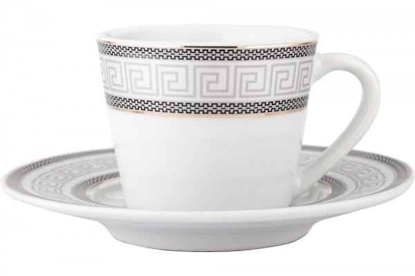 Almina | Kahve Fincanı Seti | 6 Kişilik | Gri-Beyaz | Al-2768