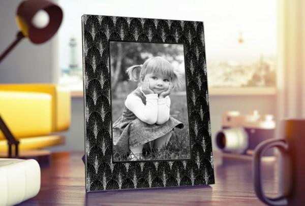 Dekonaz Kristal Palme Desenli Cam Resimlik Çerçeve | Siyah | 12.7x17.8cm