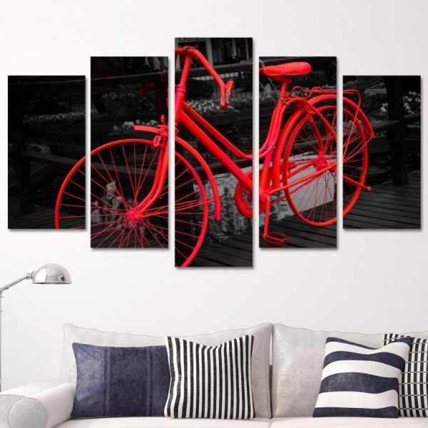5 Parça Tablo - Kırmızı Bisiklet
