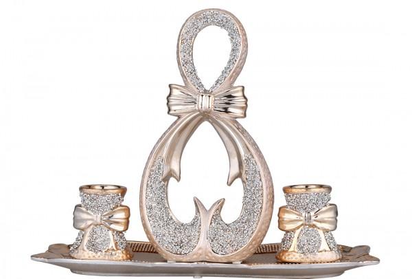 Almina 4 Parça Porselen Dekoratif Mumluk | Altın | Al-4199-c