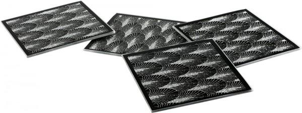 Dekonaz Kristal Palmiye Desenli Su Bardağı Altlığı | Siyah | 10cm