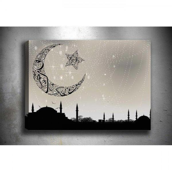 5 Parça Tablo - Ayyıldız Cami Silueti
