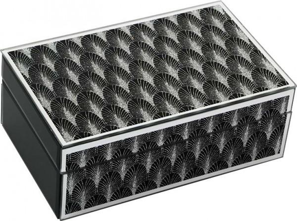 Dekonaz Dekoratif Modern Takı Kutusu Kristal Tozlu Palmiye Motif   Siyah