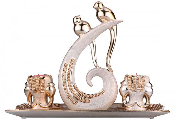 Almina 4 Parça Porselen Dekoratif Mumluk | Altın | Al-4151-c
