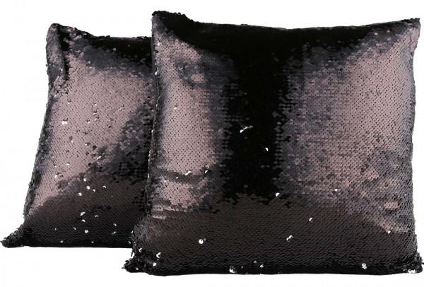 Dekonaz Modern Tasarımlı Dekoratif Pullu Yastık 40x40cm | Siyah/Gümüş | MTL-0054