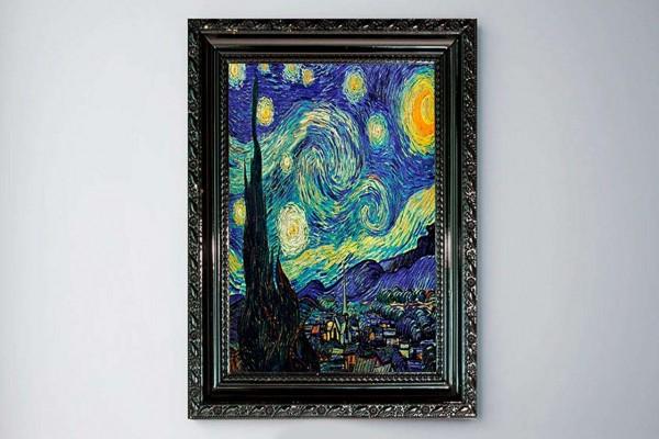 Van Gogh Yıldızlı Gece Çerçeve Baskılı MDF Tablo