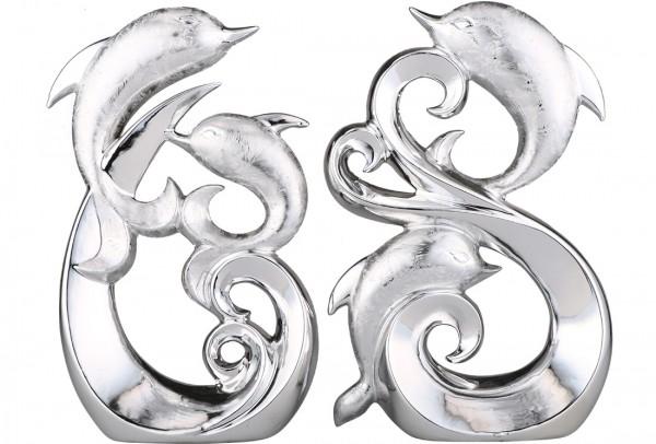 Almina 2'li Dekoratif Yunus Balığı Biblosu | Gümüş | Al-4786