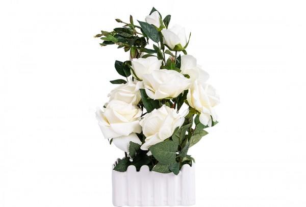 Dekonaz Dekoratif Çiçek Seramik Saksılı   Beyaz   Sas-0004
