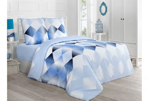 VictoriaHome Nevresim Takımı | Kareli | Mavi | Petek Blue | VH-Petek-Blue-200x220