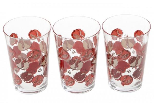 Paşabahçe Nar 3 Parça Su bardağı Seti | Kırmızı | 420022-1