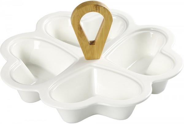 Almina Porselen 4 Bölmeli Servis Kasesi Kalp Şekilli | Bambu Kulplu | 25cm | Beyaz