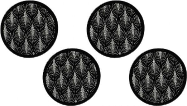 Dekonaz Kristal Tozlu Palmiye İşlemeli Yuvarlak Bardak Altlığı | Siyah