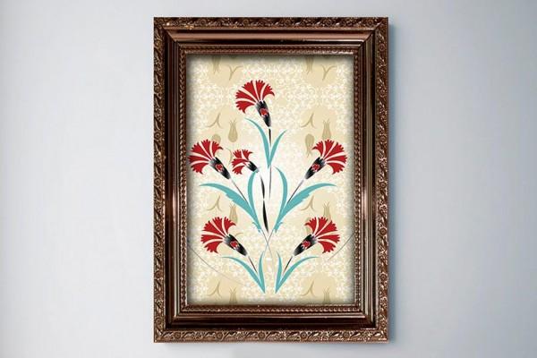 Kırmızı Çiçek Çerçeve Baskılı MDF Tablo