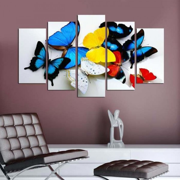 5 Parça Tablo - Renkli Kelebekler