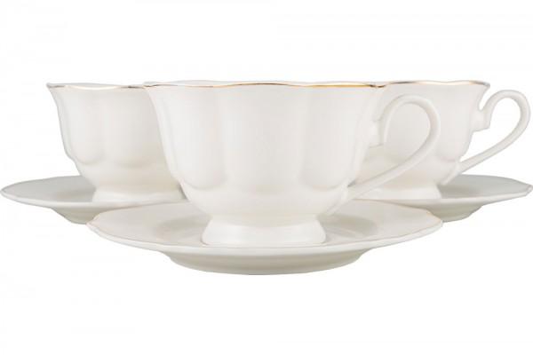 Hayal | Çay/Kahve Büyük Fincan Seti | Beyaz-Altın Desenli | 6 Kişilik | By-alz-p180056-g