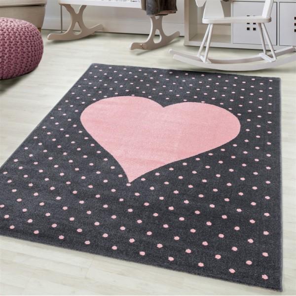 Ayyıldız Bambi Kalpli Çocuk Halısı | %100 PP Friese | 7 mm 2300gr | Pembe | 830-Pink